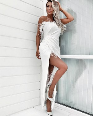 Ruched Asymmetric Strapless White Formal Dress with Feathers PD1728