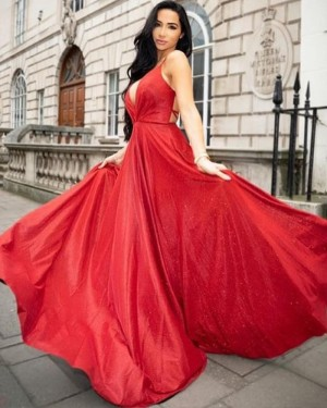 Simple Long Deep V-neck Red Satin Prom Dress PD1729