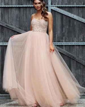 Dusty Pink Spaghetti Straps Tulle Beading Bodice Prom Dress PD1732