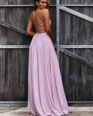 Lavender Pleated V-neck Ruched A-line Prom Dress PD1733