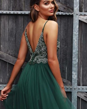 Green Tulle V-neck Beading Bodice Prom Dress with Side Slit PD1734