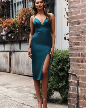 V-neck Satin Mermaid Knee Length Prom Dress with Side Slit PD1736