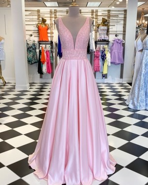 Pearl Pink Pleated V-neck Beading Bodice Prom Dress PD1738