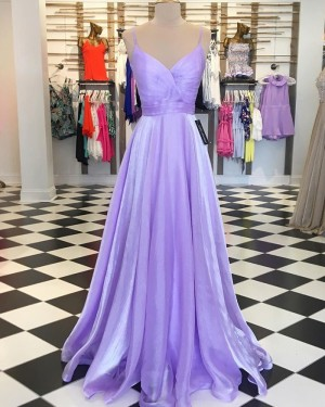 Lavender Tulle Spaghetti Straps Ruched Simple Prom Dress PD1740