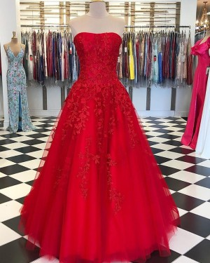 Red Strapless Appliqued Tulle Prom Dress PD1741