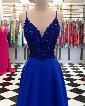 Royal Blue V-neck Beading Bodice Satin Prom Dress with Side Slit PD1743