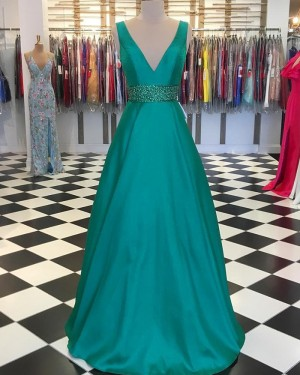 A-line V-neck Green Satin Prom Dress with Beading Belt PD1745