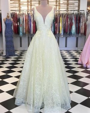 Light Yellow Deep V-neck Appliqued Sparkle Prom Dress PD1746
