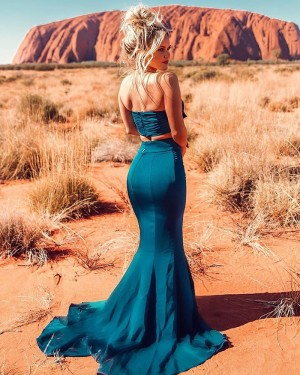 Two Piece Front Bowknot Green Mermaid Prom Dress with Side Slit PD1747