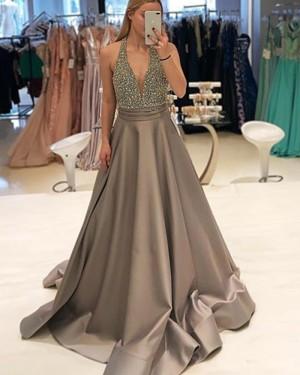 Satin Brown Halter Beading Bodice Prom Dress PD1748