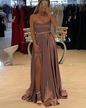 Brown Satin Spaghetti Straps Prom Dress with Side Slit PD1751