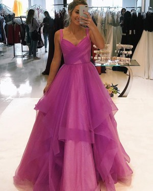 Square Purple Ruffled Sparkle Tulle Prom Dress PD1752