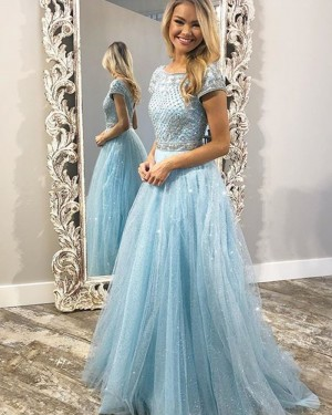 Sparkle Light Blue Jewel Beading Bodice Tulle Prom Dress with Short Sleeves PD1754