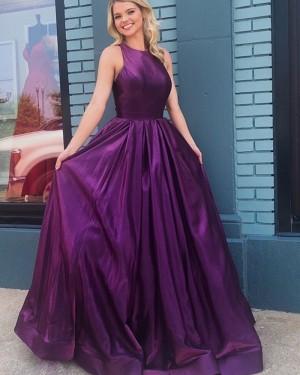 Simple Satin Jewel Purple Pleated Prom Dress PD1755