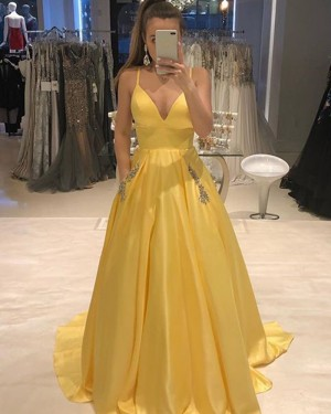 Yellow Spaghetti Straps Pleated Prom Dress with Beading Pockets PD1756