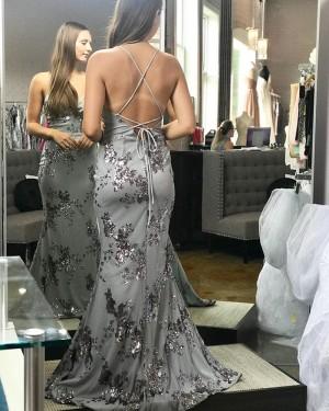 Dusty Blue Spaghetti Straps Sequin Mermaid Prom Dress PD1757