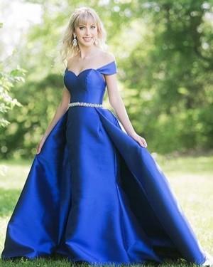 Royal Blue Off the Shoulder Satin Prom Dress with Beading Belt PD1758