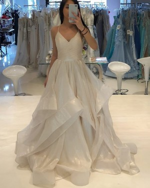 Champagne Tulle Ruffled Spaghetti Straps Ball Gown Prom Dress PD1761