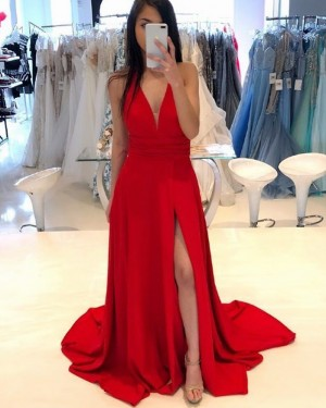 Simple Deep V-neck Red Satin Prom Dress with Side Slit PD1763