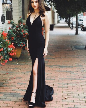 Simple Satin Mermaid V-neck Black Prom Dress with Side Slit PD1764