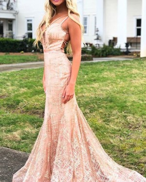 Pink Sequin Double Straps Sparkle Mermaid Prom Dress PD1767