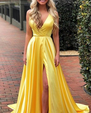 Simple Pleated Satin V-neck Yellow Prom Dress with Side Slit PD1768