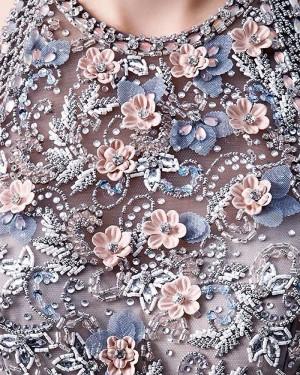 Ruffled Black Tulle High Neck Beading Bodice Evening Dress PD1770