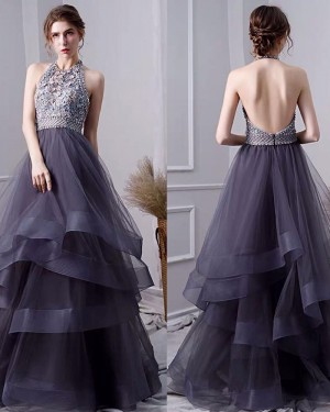 Ruffled Black Tulle High Neck Beading Bodice Evening Dress PD1770
