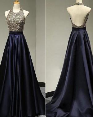 High Neck Navy Blue Satin Beading Bodice Prom Dress PD1771