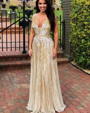 Elegant Gold Sequin Sparkle V-neck Sheath Evening Dress PD1774
