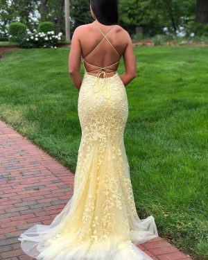 Light Yellow Spaghetti Straps Lace Mermaid Prom Dress PD1775