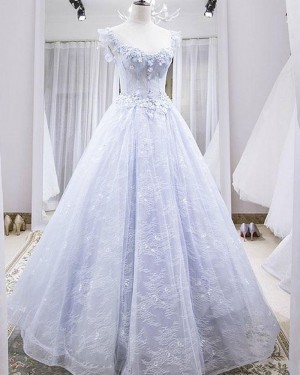 Light Blue Scoop Lace Evening Dress with 3D Flowers PD1776