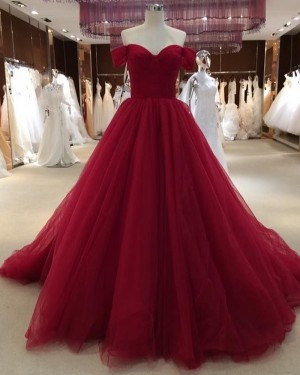 Burgundy Pleated Off the Shoulder Tulle Evening Dress PD1777