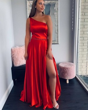 Red Satin Pleated One Shoulder Prom Dress with Side Slit PD1778