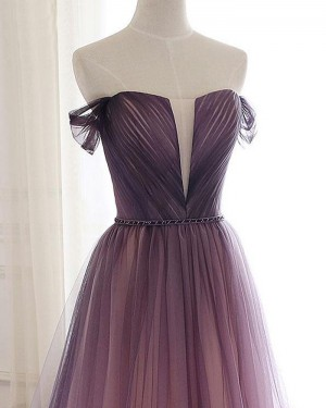 Ruched Tulle Ombre Off the Shoulder Bridesmaid Dress PD1780