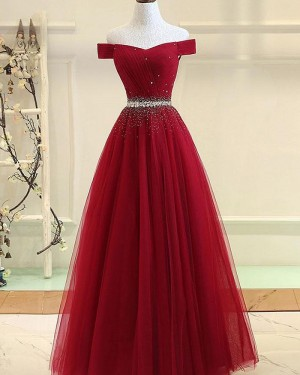 Red Beading Off the Shoulder Ruched Tulle Prom Dress PD1781