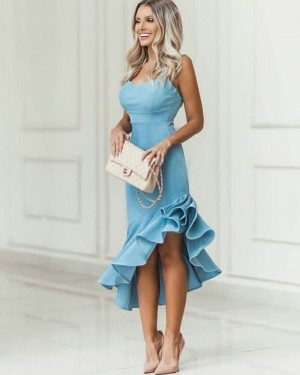 Asymmetric Satin V-neck Dusty Blue Prom Dress with Pleated Skirt PD1784