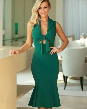 Front Knot Green Satin Mermaid Knee Length Evening Dress PD1789