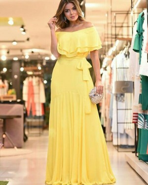 Chiffon Pleated Off the Shoulder Yellow Prom Dress PD1792