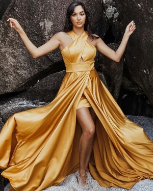 Criss Cross Satin Wax Yellow Simple Prom Dress with Side Slit PD1991