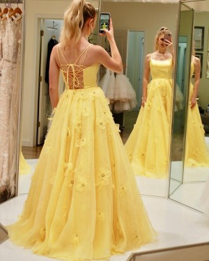 Yellow Spaghetti Straps A-line Prom Dress with Handmade Flowers PD1993