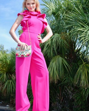 Fuchsia High Neck Satin Jumpsuit with Butterfly Sleeves PD1994