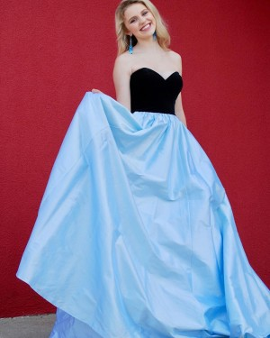 Sweetheart Black & Blue Satin Simple Prom Dress with Pockets PD1995