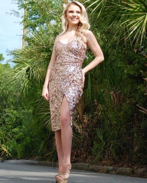 Knee Length Sequin Sheath Spaghetti Straps Formal Dress with Side Slit PD1996