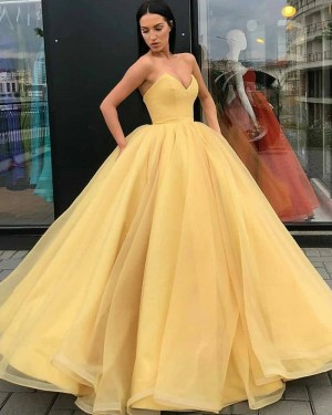 Sweetheart Yellow Tulle Simple Ball Gown Prom Dress PD1998