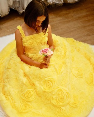 Yellow 3D Flower Lace Square Neckline Prom Dress with Bowknot PD1999