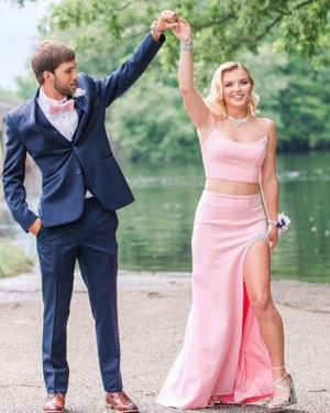 Spaghetti Straps Light Pink Two Piece Mermaid Prom Dress with Beading Side Slit PD2000