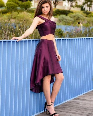 Simple High Low Two Piece Burgundy One Shoulder Satin Prom Dress PD2001