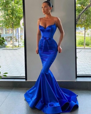 Satin Spaghetti Straps Blue Mermaid Simple Prom Dress PD2002