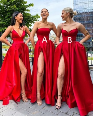 Strapless Red Satin Side Slit Simple Prom Dress with Pockets PD2004